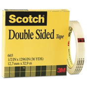 """Double Sided Office Tape, 1.3cm x 36 yards, """" Core, Clear"""