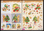 Popcorn The Bear Christmas Tree & Presents Papier Tole