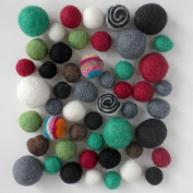 Wool Felt Pom Poms- 50 Neutral Tones