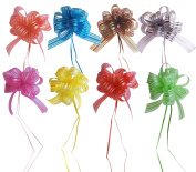 Set of 8 Elegant Pull Bows with 90cm Long Ribbon Strings to Wrap the Box, Assorted Colours, Red, Pink, Yellow, Green, Brown, Silver, Blue
