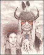 Indian Chief & Child Paper Tole 3D Kit 8x10
