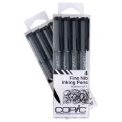 Copic Markers Multiliner Fine Pigment Based Ink, 4-Piece Set