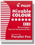 Pilot Parallel Pen Ink Refills for Calligraphy Pens, Red, 6 Cartridges per Pack