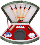 Oriental Furniture Best Arts Crafts Creative Educational Gift Ideas 2011, Complete Chinese Japanese Calligraphy Set in Fan Box