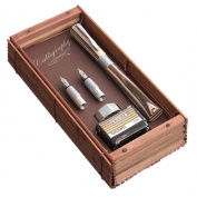 Newood Calligraphy Set In Bamboo Box - Nibs .8mm, 1.8mm, Ink Bottle with Brown Ink, Converter