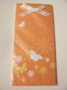 Magnetic List Pad ~ Butterflies and Flowers on Orange Background with Bow