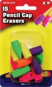 A & W Eraser Pencil Cap, 15-Count