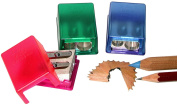 Kum 103.20.21 Mikro 2-in-1 Magnesium 2-Hole Rectangular Pencil Sharpener with Small Waste Container, Colours Vary