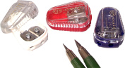 Kum 105.11.21 Polystyrene Lead Pointer 2-Hole Pencil Sharpeners with Container, Colours Vary