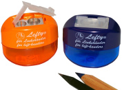 Kum 105.38.21 Magnesium Left-Handed 2-Hole Oval Pencil Sharpeners with Container, Colours Vary