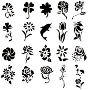 Airbrush Tattoo Stencil Set 53 Book of 20 Flower Templates