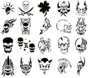 Airbrush Tattoo Stencil Set 60 Book of 20 Skull Templates