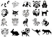 Airbrush Tattoo Stencil Set 50 Book of 20 Animals Template