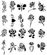 Airbrush Tattoo Stencil Set 54 Book of 20 Rose Templates