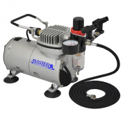 Master Airbrush High Performance Airbrush Air Compressor with filter , Black Air Hose & Dual-brush Holder