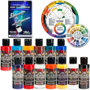 TOP 12 Createx Wicked Airbrush Paint Colours and Reducer with the Master How to Airbrush Book and Colour Wheel