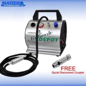 Master Airbrush Model TC-60, Super Quiet High Performance Airbrush Compressor with a 15cm Braided Hose with Mini-Inline Moisture filter and a Free Quick Disconnect