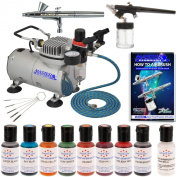 Complete Master Airbrush Cake Decorating Set - with 8 AmeriMist Airbrush Cake Colour Set that is FDA approved and a (FREE) Pearlescent Sheen Colour and a (FREE) How to Airbrush Instructional Guidebook