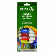Reeves 12-Pack Acrylic Colour Tube Set, 10ml