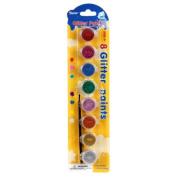 Art Wall Darice Acrylic Paint Pots, 8 Glitter Colours