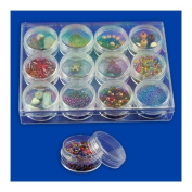 12pc Clear Bead Storage Gem Jars in Display Case - Screw-On Tops - 3.8cm . Round
