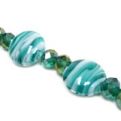 Fiona 18cm Flat Round Lampwork Glass Bead Strand, Emerald