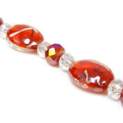 Fiona 18cm Oval Silver Foil Inside Lampwork Glass Bead Strand, Red
