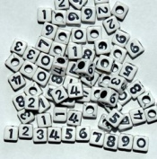 Number Beads 6mm cube 80pc