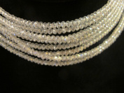 Glass Crystal Faceted Rondelle Finding Spacer Beads 3x2mm 200pcs Clear Ab 17''per Strand