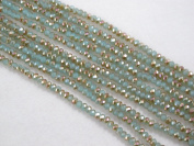 Glass Crystal Faceted Rondelle Finding Spacer Beads 2x3mm 190pcs Half Blue/Gold Colour 16''per Strand