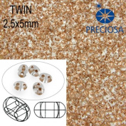 10gr Czech Two-Hole Preciosa Twin Seed Beads 2.5x5mm Clear+Copper Lined