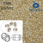 10gr Czech Two-Hole Preciosa Twin Seed Beads 2.5x5mm CLEAR+BRASS LINED