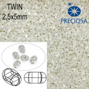 10gr Czech Two-Hole Preciosa Twin Seed Beads 2.5x5mm CLEAR+SILVER LINED