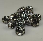 7mm Rhinestone Disc Beads Silver 36pcs