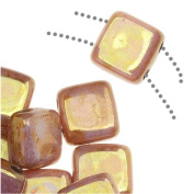 Czechmate 6mm Square Glass Czech Two Hole Tile Bead - Lustre Opaque Rose/Gold Topaz