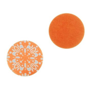 Lillypilly Aluminium Circle Stamping Orange W/ Abstract Flower 19mm
