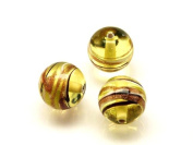 1pc Czech Glass Lampwork Beads Round 10 mm Amber decorated black , aventurine and white stripes