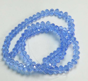 6x4mm Light Sapphire Lustre Crystal Glass Faceted Fluted Machine Cut Rondelle Beads. Approx 100 Piece 16 Inches of Beads