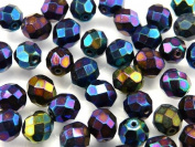 25pcs Czech Fire-Polished Faceted Glass Beads Round 8mm Blue Iris