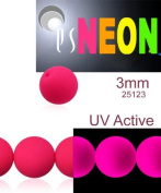 160 pcs Czech Glass Round Pressed Beads ESTRELA NEON (UV Active) PINK 3 mm
