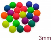 160 pcs Czech Glass Round Pressed Beads ESTRELA NEON (UV Active) MIX 3 mm