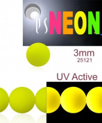 160 pcs Czech Glass Round Pressed Beads ESTRELA NEON (UV Active) Yellow 3 mm