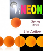 160 pcs Czech Glass Round Pressed Beads ESTRELA NEON (UV Active) ORANGE 3 mm