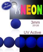 160 pcs Czech Glass Round Pressed Beads ESTRELA NEON (UV Active) DARK BLUE 3 mm