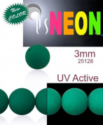 160 pcs Czech Glass Round Pressed Beads ESTRELA NEON (UV Active) EMERALD GREEN 3 mm