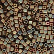 20 Grammes Kkaki Iris Matte Metallic Miyuki 4mm Square Cube Japanese Glass Seed Beads
