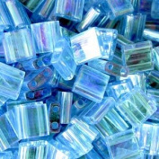 Aqua Ab Tila Beads 7.2 Gramme Tube By Miyuki Are a 2 Hole Flat Square Seed Bead 5x5mm 1.9mm Thick with .8mm Holes