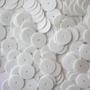 10mm ROUND FLAT SEQUINS ~ OPAQUE WHITE ~ Loose sequins paillettes for embroidery, applique, arts, crafts, bridal, and embellishment. Made in USA