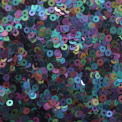 3mm Flat Round SEQUIN PAILLETTES ~ BLACK OPAQUE IRIS RAINBOW ~ Loose sequins for embroidery, bridal, applique, arts, crafts, and embellishment. Made in USA.
