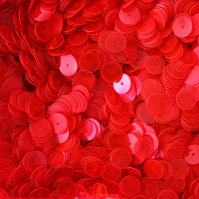 8mm Flat Round SEQUIN PAILLETTES ~ RED FLUORESCENT Transparent See-thru ~ Loose sequins for embroidery, bridal, applique, arts, crafts, and embellishment. Made in USA.